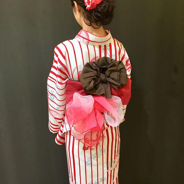 浴衣の着付けとヘアセットをしました☆金魚柄の浴衣とっても可愛かったです!花火大会楽しんで来て下さいね〜(^^) #リムヘアー#リム アズール#ルシードスタイル  リム#着付けができる美容室#ヘアセット
